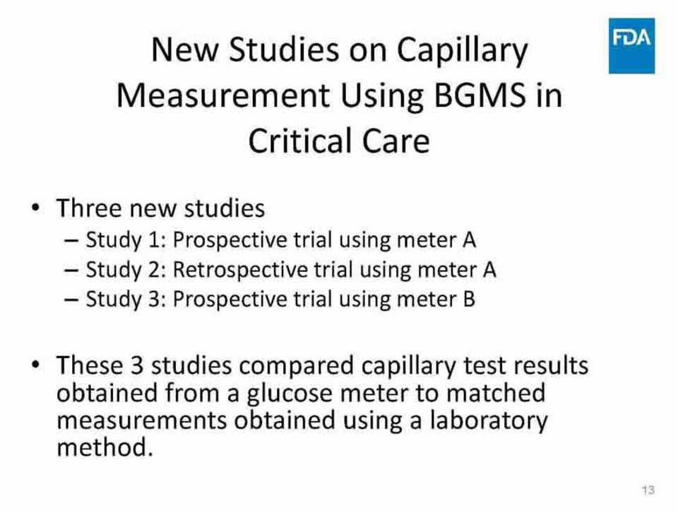 The FDA reviews guidelines for capillary glucose testing in